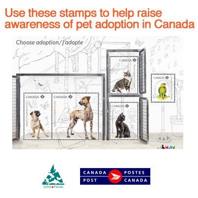 Canada Post - Adopt a Pet Booklet of 10 stamps - postage www.canadapost.c