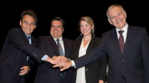 From left, Richard Bergeron, Denis Coderre, Melanie Joly and Marcel Cote are the front-runners in the race for mayor of Montreal in the 2013 municipal elections. (Graham Hughes/The Canadian Press)