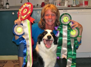 Tammy and rescue dog Keeper are all smiles after winning gold at the National Agility Trials  in 2013.