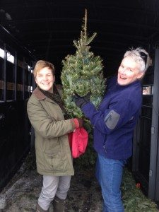 Amanda (left) and Tracy with their fundraising trees